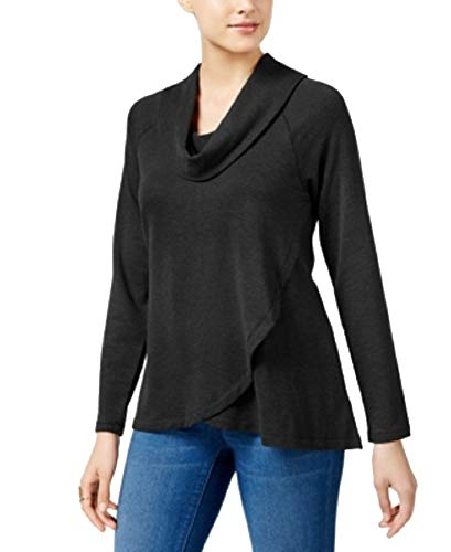 (Style&Co Cowl-Neck High-Low Tunic (Black Heather,)