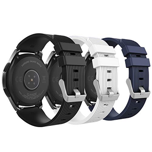MoKo Band Compatible with Samsung Galaxy Watch 46mm, [3-Pack] Soft Silicone Strap Fit Samsung Galaxy Gear S3 Classic/Frontier/Moto 360 2nd Gen 46mm Watch - Black & White & Midnight Blue