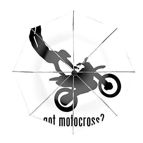 Travel Umbrella, 8 Ribs Finest Windproof Got Motocross Racing Umbrella with Teflon Coating, Auto Open Close and Upgraded Comfort Handle