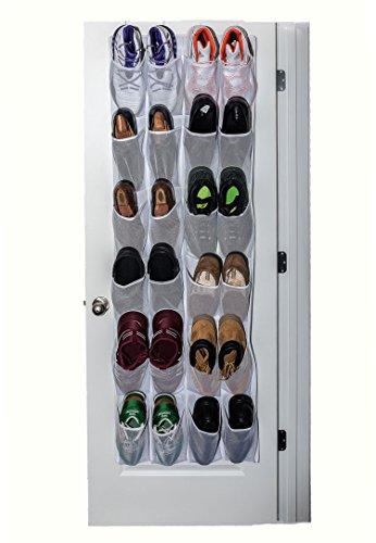 Mirella's House LARGE POCKET SHOE ORGANIZER, Over Door Shoe Rack, Sneaker Rack, Large Shoe Organizer for Door (White)