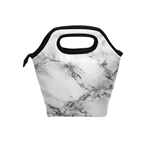 Naanle Marble Insulated Zipper Lunch Bag Cooler Tote Bag for Adult Teens Kids Girls Boys Men Women, Marble Lunch Boxes Lunchboxes Meal Prep Handbag for Outdoors School Office
