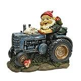 Garden Gnome Statue – Bunny on Board Garden Gnome Tractor – Lawn Gnome