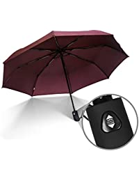 JBM Travel Umbrella Auto Open Compact Folding Sun & Rain Protection Windproof Portable Umbrella for Kids Women Men (Black, Red, Purple)