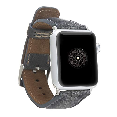 Solo Pelle Leather Bracelet Monaco for The Apple Watch Series 1-4 I Stone Gray Burned 42mm / 44mm with Silver connectors (Monaco Series)