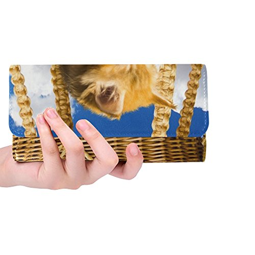 Unique Custom Animals Cat Pet Young Cat Small Cat Basket Watch Women Trifold Wallet Long Purse Credit Card Holder Case (Nantucket Basket Purses)