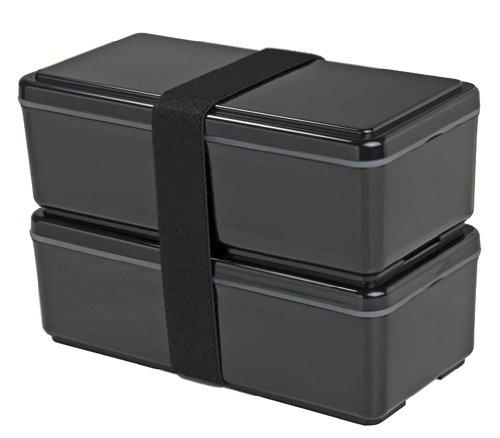 gel cool earth 2 tier japanese bento box black lunchbox style. Black Bedroom Furniture Sets. Home Design Ideas