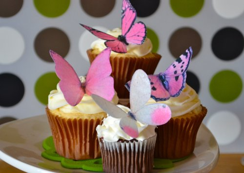 (Edible Butterflies © -Large Pink Set of 12 - Cake and Cupcake Toppers, Decoration)