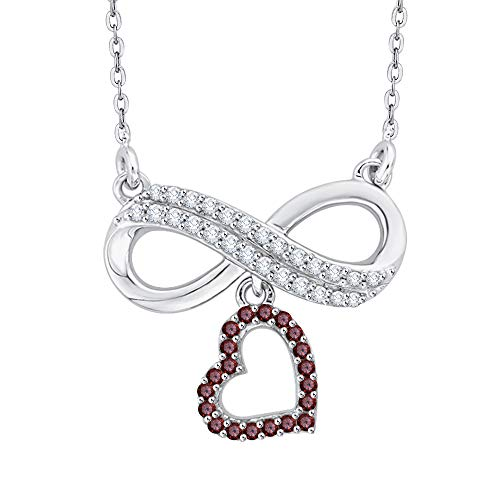 KATARINA Prong Set Diamond and Garnet Infinity Heart Pendant Necklace in Sterling Silver (1/6 cttw, J-K, -