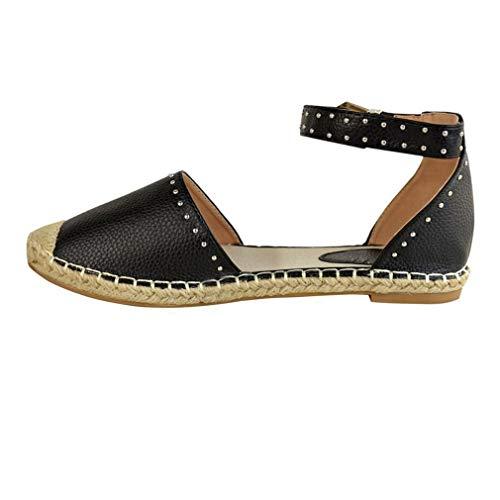 Planos 4 de Verano Pescador Sandalias Zapatos Playa 42 Sandalias Vacaciones Elegante Zapatos Rivet Zapatos EU para Moda de Negro 34 Cerrada Mujer Colores YxxvTqd