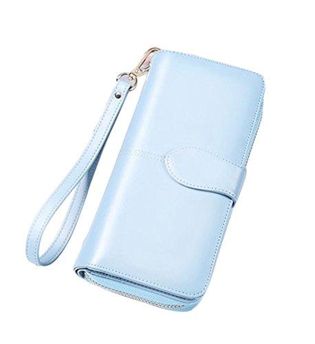 Women's RFID Blocking Large Capacity Wax Clutch Wallet Card Holder Organizer Ladies Purse (Light (Blue Ladies Clutch Wallets)