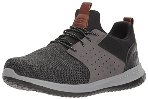 Skechers Men's Classic Fit-Delson-Camden Sneaker, Black/Grey,13 Wide US