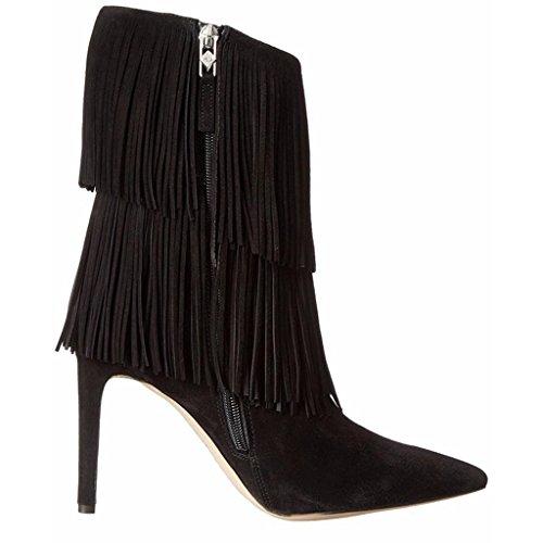 BLACK della banchetto 0702FD impermeabili Signora Scarpe Inverno Booties 36 a tallone mano Autunno da Lady fatti 39 Stivali PU artificiale caviglia brown scarpe xqP41PI