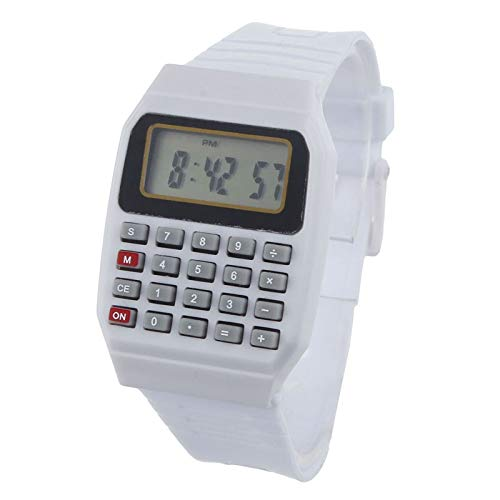 (Dressin Wrist Calculator,Unsex Silicone Multi-Purpose Date Time Electronic Wrist Calculator Watch Data Bank Black Digital Watch)