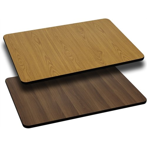 Flash Furniture 30'' x 60'' Rectangular Table Top with Natural or Walnut Reversible Laminate Top