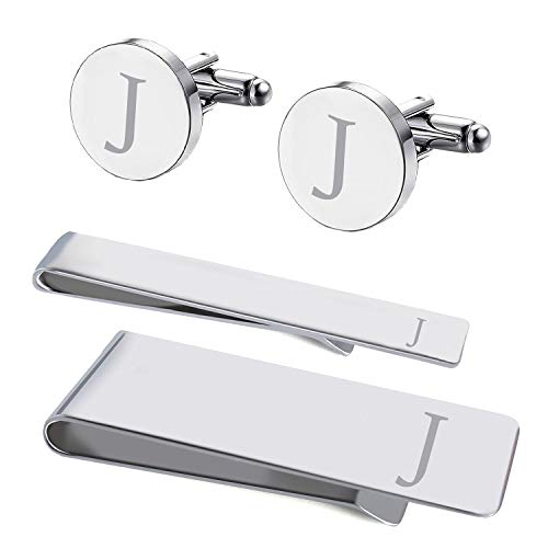 BodyJ4You 4PC Cufflinks Tie Bar Money Clip Button Shirt Personalized Initials Letter J Gift ()