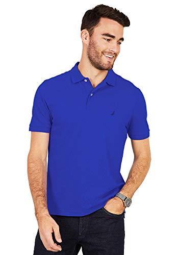 Nautica Men's Short Sleeve Solid Cotton Pique Polo Shirt (Small, Cobalt Wave) - Luxury Pique Polo