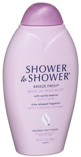Shower To Absorbent Body Powder Breeze Fresh With Vanilla Essence 13 Ounce