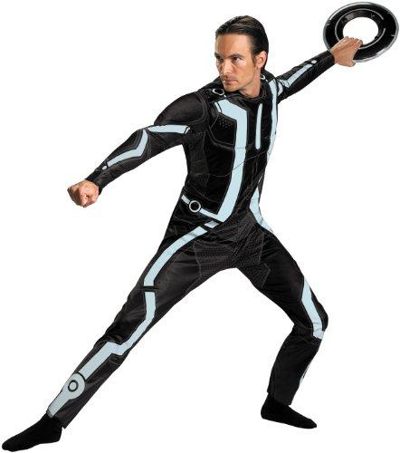 Disguise Men's Disney Tron Legacy Movie Deluxe Costume, Black/Aqua, X-Large (Tron Costume Adult Men)