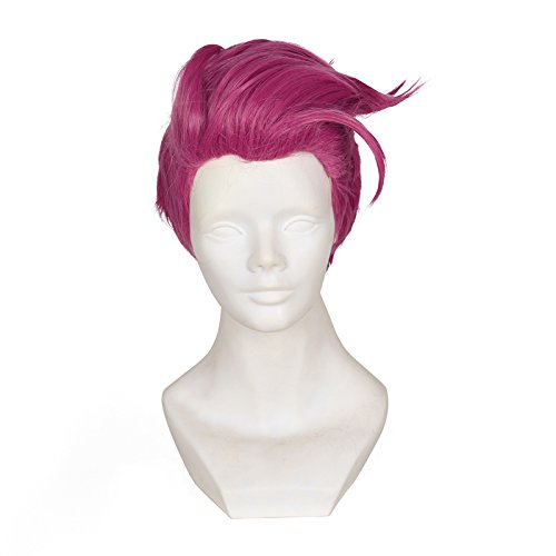 Price comparison product image Cfalaicos 12.6'' Short Layered Rose Red Cosplay Wig with Free Wig Cap (Need Style by Yourself)