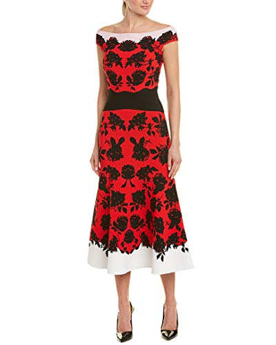 Alexander Mcqueen Womens Floral Midi Dress, S, Red ()