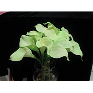 Leegoal Calla Lily Bridal Wedding Bouquet Real Touch PU Flowers (Green, Set of 10 Pcs) 13