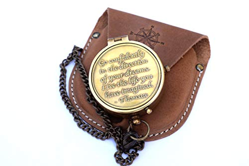 NEOVIVID Brass Compass Engraved with Thoreau's Go Confidently Quote and Stamped Leather Case, Boy Scouts Gifts