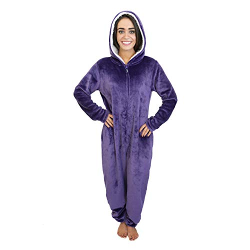 Cherokee Women's Adult Hooded Sleepwear Onesies, Parachute Purple, Large