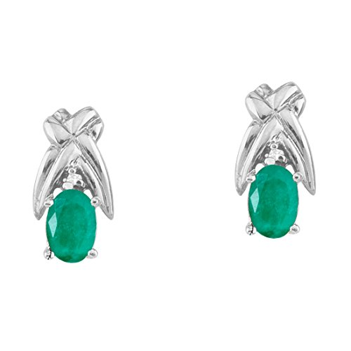 White Gold 6x4mm Oval Emerald - 2