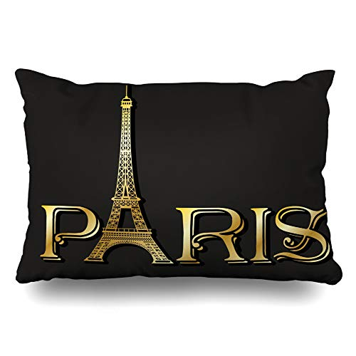 DIYCow Throw Pillows Covers Capital Gold Eiffel Line Tower Inscription Paris Drawn Cushion Case Pillowcase Home Sofa Couch Standard Size 20 x 26 Inches Pillowslips ()