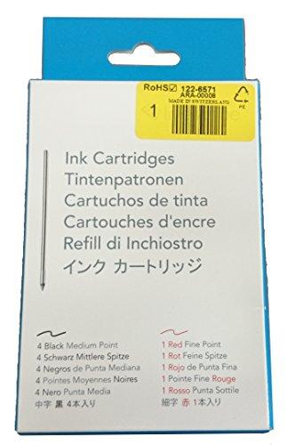Livescribe Sky/Echo/Pulse Ink Refill 5-pack (4 Black Med, 1 Red Fine)