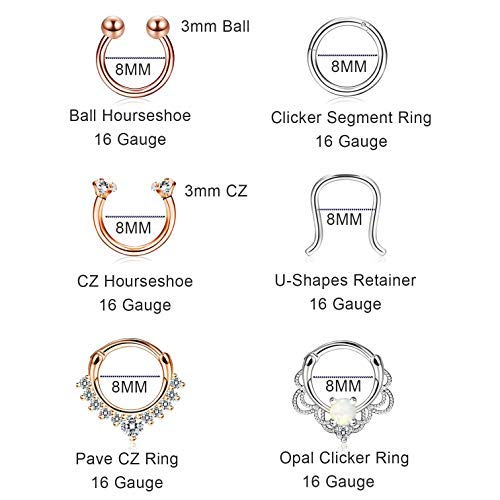 Finrezio 12Pcs 316L Stainless Steel Septum Piercing Nose Rings Hoop Cartilage Tragus Retainer Body Piercing Jewelry 8MM 16G Rose-Gold Tone & Silver Tone