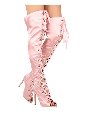 (Alrisco Women Satin Thigh High Peep Toe Lace Up Stiletto Boot HE38 - Blush Satin (Size: 7.0))
