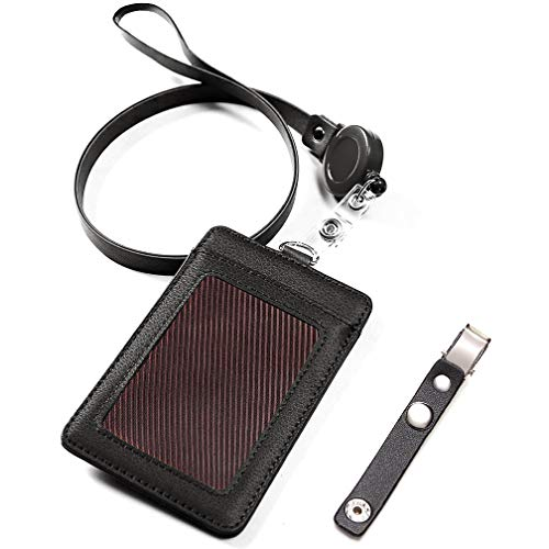 Black Leather Badge Holder with 3 Card Pockets, Maveek Vertical Name Tag ID Card Holders with Retractable Reel Neck Strap & Detachable Metal Clips