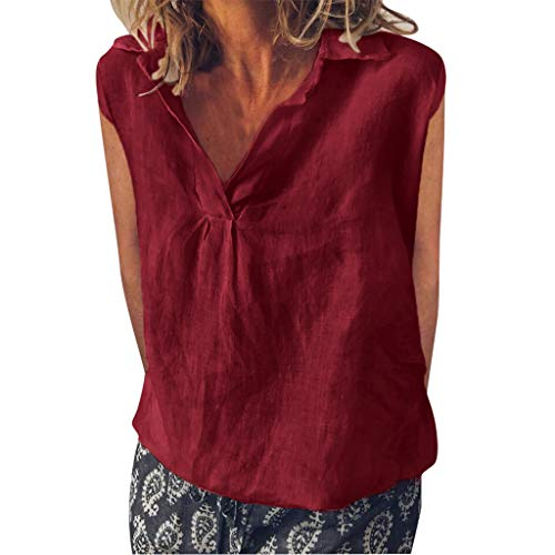 TIANMI Women Fashion Loose Sleeveless Linen Daily Solid Daily Casual Shirt Blouse Tops Wine Red