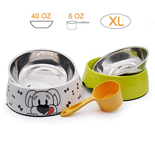 Witcreate Suitable for Large Pet Dogs,Two Stainless Steel Pet Dog Bowls 40 OZ,Two Melamine Pet Dog Bowls 40 OZ,Pet Dog Spoon 6 OZ, Dog Bowls,Pet Dog Tableware 2 Small Pet Bowl