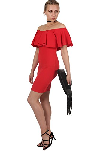 PILOT® hombro del vestido bodycon del volante profunda Rojo
