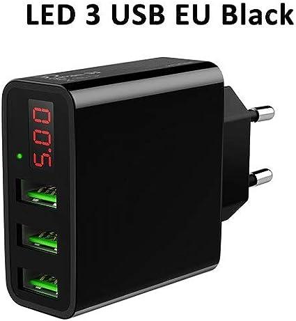 Amazon.com: Cargador USB de la UE con 3 puertos de pantalla ...
