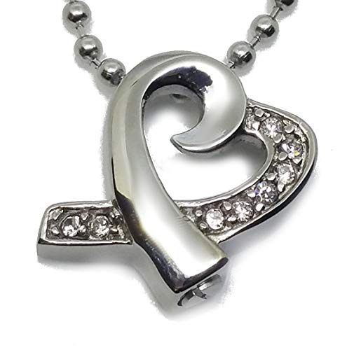 Cremation Jewelry for Ashes Cubic Zircon Love Sweet Heart Charm Necklaces Stainless Steel Pendant for Men and Women Dog Cat Funeral Day. Keepsake for Loved One