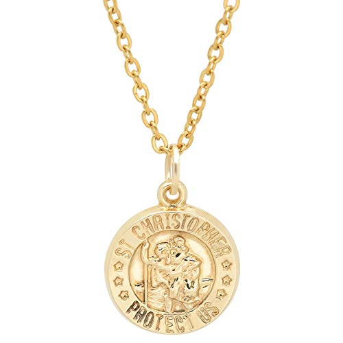 Pori Jewelers 14K Solid Yellow Gold Religious Medallion Pendants in 14K Gold Diamond Cut Cable Chain Necklace -18