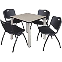 Kee 30 Square Breakroom Table- Maple/ Chrome & 4 M Stack Chairs- Black