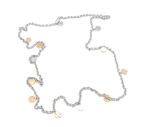 TORY BURCH LOGO CHARM ROSARY NECKLACE (SILVER)