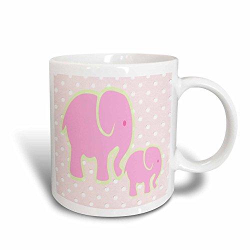 3dRose mug_44768_1 Mama N Baby Pink Elephants on Pink N White Dots Ceramic Mug, 11-Ounce Baby Dot Ceramic