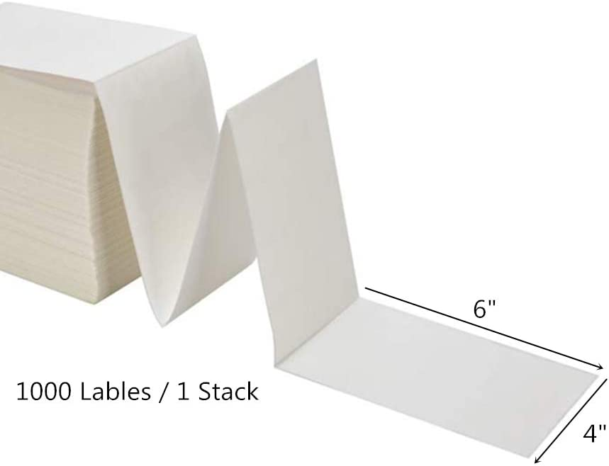BESTEASY 4 x 6 Fanfold Direct Thermal Labels Elton 1 Stack 500 Labels White Perforated Permanent-Adhesive Shipping Labels Compatible with Zebra
