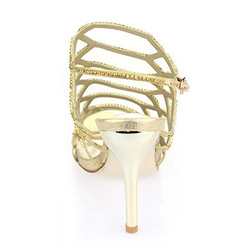Aarz de las señoras de la boda que iguala Prom Party del tacón alto de la sandalia Diamante Nupcial tamaño de los zapatos (Oro, Plata, Negro, Rosa) Oro