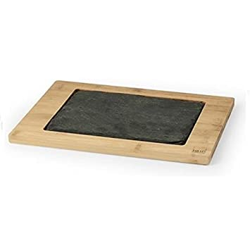 Plato Bandeja tabla de pizarra rectangular con madera Bamboo ...