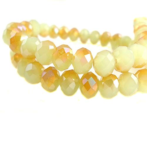 BeadsOne 10mm - 38 pcs - Glass Rondelle Faceted Beads Opal Gold AB Multicolored for jewerly Making findings Handmade jewerly briolette Loose Beads Spacer Donut Faceted Top Quality 5040 (AB ()