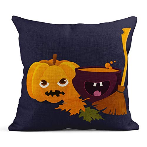 Tarolo Throw Pillow Covers Cartoon Witch Cauldron Magic Boiling Soup Potion and Halloween Pumpkin Squash Jack O Lantern Broom Besom Linen Cushion Cases Home Decorative Pillowcases 18 x 18 inches]()