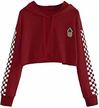 6727a6832fa Women's Cute Crop Top Teen Girls Cropped Hoodie Pineapple Print Sweater  Jacket Sweatshirt Jumper Pullover Tops