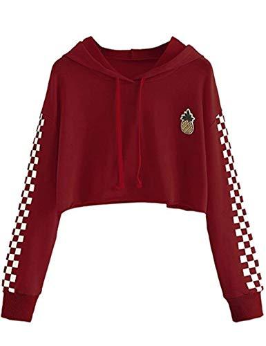 Women's Cute Crop Top Teen Girls Cropped Hoodie Pineapple Print Sweater Jacket Sweatshirt Jumper Pullover Tops (Burgundy, L)