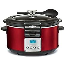 BELLA 5 Quart LINEA Programmable Locking Lid Slow Cooker, Color Red 14106